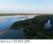 Купить «Aerial view of big siberian Ob river», фото № 33001250, снято 28 июля 2019 г. (c) Jan Jack Russo Media / Фотобанк Лори