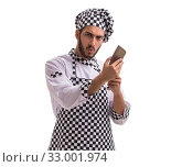 Купить «Male cook isolated on the white background», фото № 33001974, снято 6 июля 2017 г. (c) Elnur / Фотобанк Лори