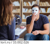 Man attending psychology therapy session with doctor. Стоковое фото, фотограф Elnur / Фотобанк Лори