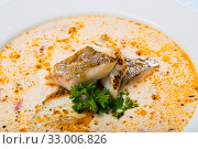 Купить «Tasty creamy soup with white fish pollock and greens at white plate», фото № 33006826, снято 1 апреля 2020 г. (c) Яков Филимонов / Фотобанк Лори