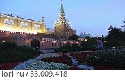 Купить «Alexander Garden near the Kremlin, Moscow, Russia (at night)», видеоролик № 33009418, снято 30 января 2020 г. (c) Владимир Журавлев / Фотобанк Лори