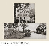 The Automobile Association introduced road signs in 1908, the top image is one of the first of these early road signs, the bottom image is one of the more... (2019 год). Редакционное фото, фотограф Classic Vision / age Fotostock / Фотобанк Лори