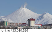 Купить «Winter city scape of Petropavlovsk-Kamchatsky City and active Avacha Volcano», видеоролик № 33010526, снято 23 января 2020 г. (c) А. А. Пирагис / Фотобанк Лори