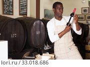 Купить «winegrower examining bottles with wine», фото № 33018686, снято 1 августа 2019 г. (c) Яков Филимонов / Фотобанк Лори