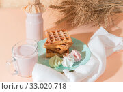 Купить «Sweet delicious dessert, homemade baked goods for breakfast. Belgian soft waffles on a blue plate with fresh fruit berry yogurt and meringues on a peach-colored background in pastel tone», фото № 33020718, снято 30 ноября 2019 г. (c) Светлана Евграфова / Фотобанк Лори