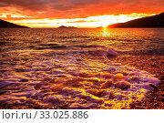 Купить «Scenic colorful sunset at the sea coast. Good for wallpaper or background image.», фото № 33025886, снято 4 апреля 2020 г. (c) easy Fotostock / Фотобанк Лори