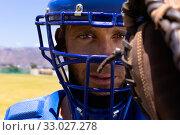 Купить «Baseball player looking at camera», фото № 33027278, снято 1 декабря 2019 г. (c) Wavebreak Media / Фотобанк Лори