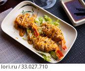 Fried shrimp with sesame seeds. Japanese cuisine. Стоковое фото, фотограф Яков Филимонов / Фотобанк Лори