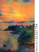Купить «Night off the coast of the island», иллюстрация № 33027754 (c) Парушин Евгений / Фотобанк Лори