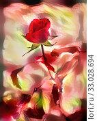 Купить «Red flower in the garden at autumn», иллюстрация № 33028694 (c) Парушин Евгений / Фотобанк Лори