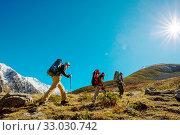 Купить «People in hike in the mountains», фото № 33030742, снято 19 февраля 2020 г. (c) easy Fotostock / Фотобанк Лори