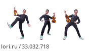 Купить «Funny violin player on white», фото № 33032718, снято 13 мая 2013 г. (c) Elnur / Фотобанк Лори