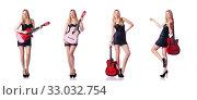Купить «Female guitar player isolated on white», фото № 33032754, снято 5 января 2013 г. (c) Elnur / Фотобанк Лори