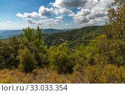Купить «View from Olymbos, the highest peak of the island of Cyprus. Troodos mountains», фото № 33033354, снято 8 октября 2019 г. (c) Володина Ольга / Фотобанк Лори