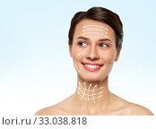 Купить «beautiful smiling young woman with bare shoulder», фото № 33038818, снято 30 ноября 2019 г. (c) Syda Productions / Фотобанк Лори