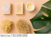 Купить «natural soap, brush, sponge and body butter», фото № 33039050, снято 8 ноября 2018 г. (c) Syda Productions / Фотобанк Лори