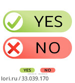 Yes No icons for websites or applications. Vote sign. Confirm Reject signs isolated on white. Vector. Стоковое фото, фотограф Dmitry Domashenko / Фотобанк Лори