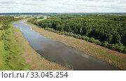 Купить «Panoramic view of gulf meadows in the floodplain of the Oka River, Russia», видеоролик № 33045254, снято 28 июня 2018 г. (c) Яков Филимонов / Фотобанк Лори