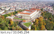 Above view of medieval castle Spilberk. City of Brno. South Moravian region. Czech Republic. Стоковое видео, видеограф Яков Филимонов / Фотобанк Лори
