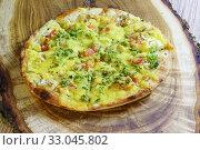 Пицца с томатами, грибами и брокколи на доске. Стоковое фото, фотограф Наталья Гармашева / Фотобанк Лори