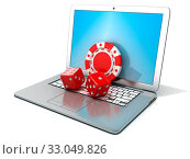 Купить «Laptop with red dice and chip. 3D rendering - concept of online gambling. Isolated on white background», фото № 33049826, снято 29 марта 2020 г. (c) easy Fotostock / Фотобанк Лори