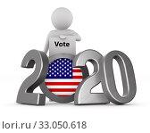 American elections of 2020 on white background. Isolated 3D illustration. Стоковая иллюстрация, иллюстратор Ильин Сергей / Фотобанк Лори