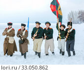 Купить «Russia, Samara, February 2017: Russian soldiers of the Patriotic War of 1812. Historical reconstruction.», фото № 33050862, снято 23 февраля 2017 г. (c) Акиньшин Владимир / Фотобанк Лори