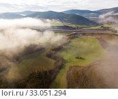 Aerial landscape of Navarre valleys (2018 год). Стоковое фото, фотограф Яков Филимонов / Фотобанк Лори