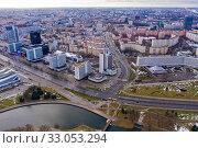 Minsk cityscape with buildings and river in city center, Belarus (2020 год). Редакционное фото, фотограф Яков Филимонов / Фотобанк Лори