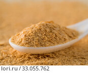 Купить «Nutritional yeast background. Nutritional inactive yeast in white spoon. Copy space. Nutritional yeast is vegetarian superfood with cheese flavor, for healthy diet», фото № 33055762, снято 25 мая 2020 г. (c) easy Fotostock / Фотобанк Лори