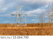 Опоры воздушной линии электропередачи (опора ЛЭП) Стоковое фото, фотограф Александр Щепин / Фотобанк Лори