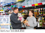 Father with son and little dogs choose products for animals in petshop. Стоковое фото, фотограф Яков Филимонов / Фотобанк Лори