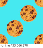 Купить «Chocolate chip cookies, gluten-free, a seamless repeat pattern on a blue background», фото № 33066270, снято 24 февраля 2020 г. (c) easy Fotostock / Фотобанк Лори