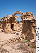 Купить «The remains of Saranta Kolones castle. Paphos Archaeological Park. Cyprus», фото № 33067274, снято 8 июня 2018 г. (c) Serg Zastavkin / Фотобанк Лори