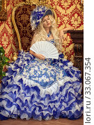 Купить «Costume stylization of a beautiful woman under a medieval or fairy princess, queen or aristocrat.», фото № 33067354, снято 30 июля 2016 г. (c) katalinks / Фотобанк Лори