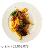 Купить «Grilled beef with french fries», фото № 33068078, снято 22 февраля 2020 г. (c) Яков Филимонов / Фотобанк Лори