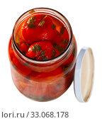Купить «Pickled tomatoes in glass jar», фото № 33068178, снято 28 мая 2020 г. (c) Яков Филимонов / Фотобанк Лори