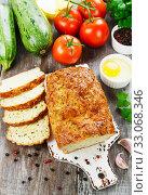 Купить «Unsweetened zucchini cake», фото № 33068346, снято 30 июля 2019 г. (c) Надежда Мишкова / Фотобанк Лори