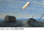 Купить «Дирижабль Graf Zeppelin над озером. Иностранная открытка», фото № 33068494, снято 28 февраля 2020 г. (c) Retro / Фотобанк Лори