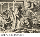 Genesis. The great flood, Arca Noe. God appears to Noah and tells him to make an ark of resinous woods. Sacred biblical history Old Testament. Old engraving... Стоковое фото, фотограф Jerónimo Alba / age Fotostock / Фотобанк Лори