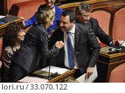 Senator Giulia Bongiorno, Senator and leader of Lega party Matteo Salvini (R) during the debate at Senate, Rome, ITALY-12-02-2020. Редакционное фото, фотограф Armando Dadi / AGF/Armando Dadi / AGF / age Fotostock / Фотобанк Лори
