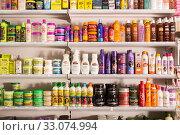 Купить «Hair care products on store shelves», фото № 33074994, снято 24 октября 2019 г. (c) Яков Филимонов / Фотобанк Лори