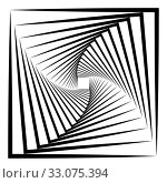 Abstract 3D background with simple geometric figure. Rotated square stylized design elements isolated on white. Vector. Стоковое фото, фотограф Dmitry Domashenko / Фотобанк Лори