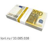 Купить «Packet of 200 Euro Notes with Bank Wrapper», фото № 33085038, снято 20 февраля 2020 г. (c) PantherMedia / Фотобанк Лори