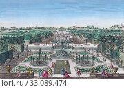 Купить «Vue perspective des Fontaines à droite du Jardin de Plaisance du Roy d'Espagne. Perspective view of the fountains to the right of the pleasure garden of...», фото № 33089474, снято 1 января 2019 г. (c) age Fotostock / Фотобанк Лори