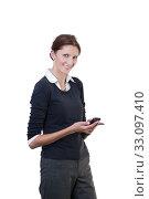 Купить «employees with smartphone», фото № 33097410, снято 7 июля 2020 г. (c) PantherMedia / Фотобанк Лори