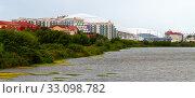 Sochi, Russia - May 30. 2018. Adler city panorama from the pond. Редакционное фото, фотограф Володина Ольга / Фотобанк Лори