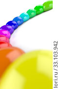 Купить «3d rainbow semicircle of color drops 1», фото № 33103942, снято 27 февраля 2020 г. (c) PantherMedia / Фотобанк Лори