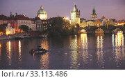 Купить «Night view of Charles bridge. Prague. Czech Republic», видеоролик № 33113486, снято 20 февраля 2020 г. (c) Яков Филимонов / Фотобанк Лори