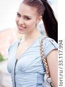 Купить «young attractive laughing woman in summer outdoors portrait», фото № 33117994, снято 25 мая 2020 г. (c) PantherMedia / Фотобанк Лори